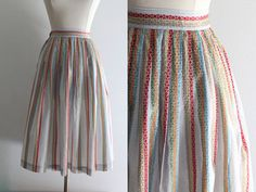 1950s Embroidered Skirt / Vintage 50s Gray Cotton Rayon Multi-Color Embroidered Stripes Full Skirt by SavvySpinsterVintage