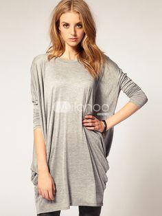 Cool Modern Gray Spandex Long Sleeve Women's Loose Blouse