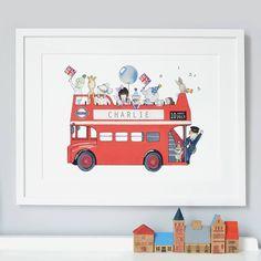 personalised london bus nursery print by daisy  bump nursery art | notonthehighstreet.com
