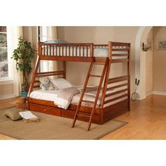 Wildon Home Dillard Casual Style Twin/Full Bunk Bed with Storage Drawers in Oak