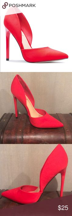 """Brand new, In Box, Never Worn Red Pumps! Brand new, 4.75"""" heels, beautiful bold red. Update your pump collection with something new like Amandalyn. This beautiful d'Orsay-style heel will take your dresses to a whole new level of chic. In box and never worn. Beautiful. Shoe Dazzle Shoes Heels"""