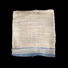 Linen with a Blue and Red Striped Border  New Kingdom or Later, after 1500 BCE  Egypt    Pieces of fabric were not woven specifically for wrapping mummies. The textiles used for mummy bandages were often household linen or clothing, torn into strips. The fabric was frequently worn and had been darned. These pieces can sometimes be reassembled to discover the nature of the original garments.