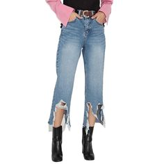 Asymmetrical Distressed Ripped Jeans For Women Spring Summer 2017 New Straight Boyfriend Women Cropped Jeans High Waist Jeans