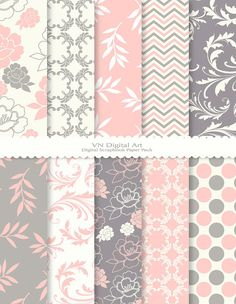 grey and pink digital scrap pack $3
