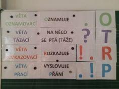 Produkt - Druhy vět - na tabuli, karty, přiřazování Montessori