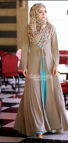 Hijab Fashion Beautiful totally gorgeous coffee colour with a flash of turquoise underneath! Hijab Fashion Sélection de looks tendances spécial voilées Look Descreption Beautiful - totally gorgeous coffee colour with a flash of turquoise underneath! Hijab Fashion 2016, Abaya Fashion, Fashion 2017, Modest Fashion, Trendy Fashion, Abaya Designs, Muslim Dress, Hijab Dress, Islamic Fashion