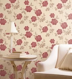 living room with red  and taupe modern floral silks wallcovering from - http://wallcoverings2u.com/