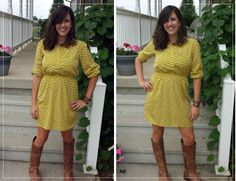 The chevron print, knee high boots, and mustard yellow hue worn by Andrea of Momma in Flip Flops makes a lovely fall trio.