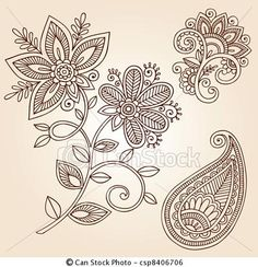 Vector - Henna Flower Paisley Doodle Vector - stock illustration, royalty free illustrations, stock clip art icon, stock clipart icons, logo, line art, EPS picture, pictures, graphic, graphics, drawing, drawings, vector image, artwork, EPS vector art