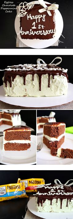 """An """"Eggless Chocolate Peppermint Cake"""", with Buttercream icing, Chocolate Ganache topping and White Chocolate decorations. The cake is so moist and spongy that no one will believe that it was made without any eggs. #HolidayRemix #Ad @verybestbaking"""