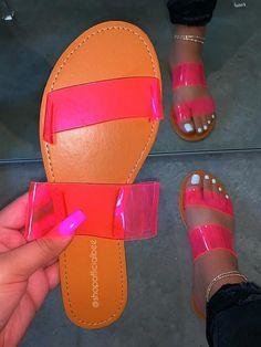 Shop Official Bee: The Latest Shoe Trends – shopofficialbee Bling Sandals, Shoes Flats Sandals, Lit Shoes, Slipper Sandals, Cute Sandals, Cute Slides, Jelly Slides, Denim Jacket With Fur, Fashion Sandals