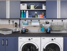 Dollar stores often have a whole lot in their aisles, and chances are there is a wall system there just waiting to organize the heck out of the laundry room. Check out these 40 awesome home organization ideas from the dollar store. Garage Laundry Rooms, Laundry Room Organization, Laundry Storage, Laundry Room Design, Garage Storage, Organization Ideas, Storage Ideas, Laundry Area, Storage Shelves