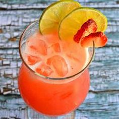 Mexican Strawberry Water (Agua de Fresa) Allrecipes.com~pretty good! although did not have lime to add, left in remaing pulp.