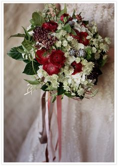 deep red, white and green bouquet