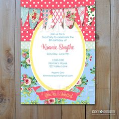 Shabby Chic Vintage Tea Party Invitation by FancyShmancyNotes