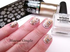 Stamping nailart white and gold / blanc et doré (Picture Polish White Wedding, Color Show Bold Gold, MoYou Festive no.2)