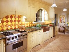 In a Tuscan kitchen, cabinets anchor the space with their sun-warmed tones. Often featuring elements that are seen in both traditional and Southwestern design, this warm and family-friendly style feels casually grand. Copper is often a feature, as are handmade tiles and subtly distressed stone or wood floors. Photo courtesy of Jamie Herzlinger