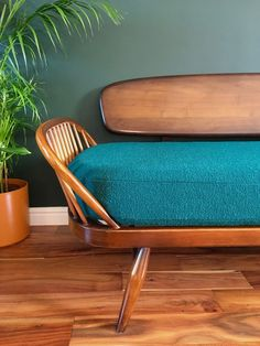 Mid Century Ercol Day Bed Reupholstered Bute Fabrics Tiree Dark Green Teal | Habiib Ercol Sofa, Daybed, Bed Sofa, Green Sofa, Green Bedding, Dark Walls, Vintage Interiors, Vintage Furniture, Interior Inspiration