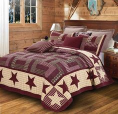 Primitive Burgundy Star Print Quilt Set Country Barn Lodge Cottage #Unbranded #Country