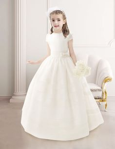 Charming Ball Gown Short Sleeves Floor Length Communion Dress