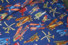 SALE 25% OFF Bi Planes Aircraft Air Force Military by Phoenix Creative Quilters' Quality 100 Percent Cotton - $1.87 USD