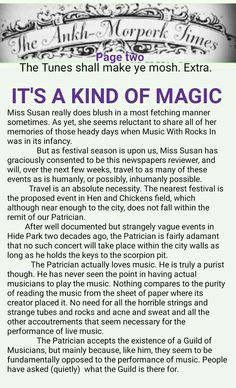 The Ankh-Morpork Times. The Truth shall make ye mosh. Extra. IT'S A KIND OF MAGIC. page two. by David Green. 5 Aug 2015