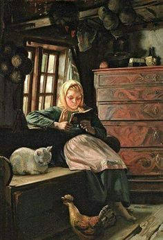 "Reading and Books in Art: ""Sunday Afternoon - Interior With A Girl Reading"" by Michael Peter Ancher – Danish) Girl Reading, Reading Art, Children Reading, Reading Books, I Love Books, Good Books, Books To Read, Art Occidental, World Of Books"