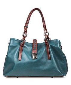 Look what I found on #zulily! Green & Brown Braided Leather Shoulder Bag #zulilyfinds
