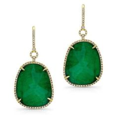 14kt Yellow Gold Emerald Diamond Earrings ($2,185) ❤ liked on Polyvore featuring jewelry, earrings, diamond jewellery, yellow gold earrings, diamond earrings, emerald jewellery and gold jewellery