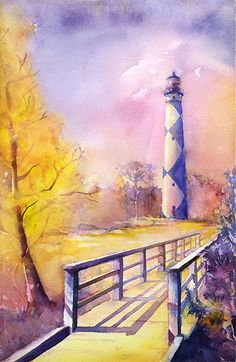 Watercolor painting of Cape Lookout lighthouse by Ryan Fox