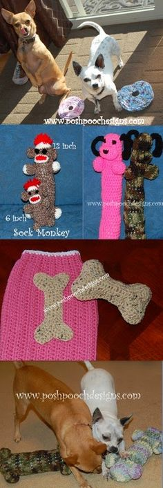 Four Dog Toy   Crochet Patterns -   By Posh Pooch Designs       1. Dog Frisbee - Link         2. Sock monkey Dog Woobie - Link       3. Do...