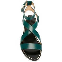 Stella Luna Ankle Strap Sandals ($155) ❤ liked on Polyvore featuring shoes, sandals, ankle tie sandals, stella luna, ankle tie shoes, dark green shoes and ankle wrap sandals