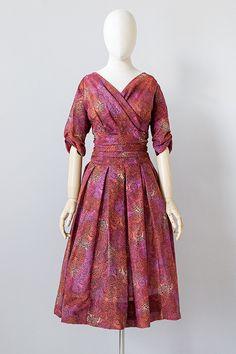 vintage 1950s red purple print Jonathan Logan dress