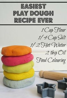 super simple non-cook play dough recipe. A fun kids activity they will love maki… super simple non-cook play dough recipe. A fun kids activity they will love making and then playing with the play dough after. A really easy play… Continue Reading → Fun Activities For Kids, Fun Crafts For Kids, Infant Activities, Projects For Kids, Diy For Kids, Easy Crafts, Fun Things For Kids, Kids Cooking Activities, Art Projects