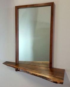 Walnut Contemporary Modern/Mid Century Style Wall Hanging Mirror Live Edge Shelf