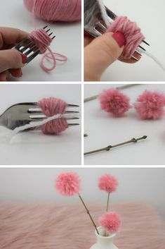 Beautiful small flower decorations are made with the pompons. Beautiful small flower decorations are made with the pompons. Small Flowers, Diy Flowers, Flower Decorations, Paper Flowers, Diy Crafts To Do, Home Crafts, Fleurs Diy, Diy Wreath, Easter Crafts