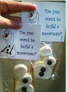 . Do You Wanna Build a Snowman 3 large marshmallows 2 small marshmallows 2 pretzels sticks 3 chocolate M&m's or choc chips candy corn or orange tic tac