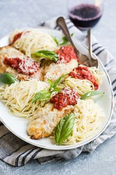 To me, Chicken Parmesan is comfort food like no other, perfect any night but especially when the days get shorter, and there's a bit of a chill in the air. This hearty recipe for a delicious, easy Chicken Parmesan with pasta and a homemade tomato sauce will make everyone at the table ask for seconds, maybe even thirds.