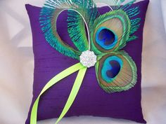 Items similar to Peacock Feather Dark Purple Lime Green Rhinestone Accent Bridal Wedding Ring Bearer Pillow on Etsy Purple Peacock, Peacock Theme, Peacock Wedding, Peacock Feathers, Purple Wedding, Peacock Ring, Feather Ring, Lime Wedding, Wedding Flowers