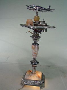 Vintage Art Deco Smoke Stand with Light, Marbleized Glass, Ashtray -  Super Cool!