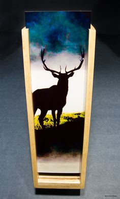 Custom Maple Wood Wine Box featuring my Elk sillohete photo, ON SALE! best selling Items, gifts for hunters, elegant, bar decor, kitchen by PicturesFromHeaven on Etsy
