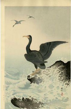 KOSON Japanese Woodblock Print CORMORANTS 1930s RARE
