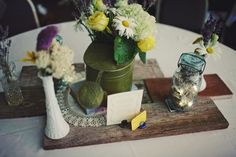 vintage found objects and flowers for centerpieces