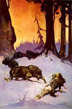 wolfpack - by Frank Frazetta | Featured Artist on the Fantasy Gallery