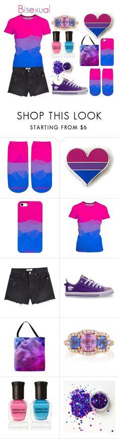"""Bisexual pride"" by lottie2004 ❤ liked on Polyvore featuring Frame, Skicks, Bayco, Deborah Lippmann, pride and bisexual"