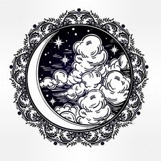 Intricate Hand Drawn Vector Crescent Moon. - Tattoos Vectors