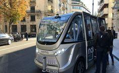 La véhicule autonome Arma de Navya, ce mercredi à Paris.