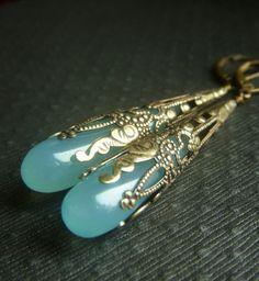 Aqua Chalcedony Earrings on Brass  Long Wirewrapped by beadstylin