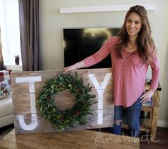 Ana White | Build a Joy Holiday Sign Christmas Wall Art | Free and Easy DIY Project and Furniture Plans Christmas Wall Art, Christmas Wreaths, Christmas Tree Decorations, Christmas Holiday, Holiday Signs, Holiday Decor, Christmas Signs, Diy Art Projects, Christmas Craft Projects