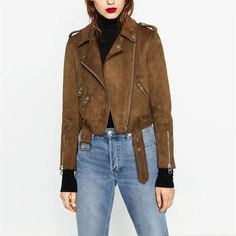 2016 Autumn Fashion Vintage Rock And Roll Zipper Short Brown Faux Suede Jacket Women Basic Coats Outerwear Chaquetas Mujer